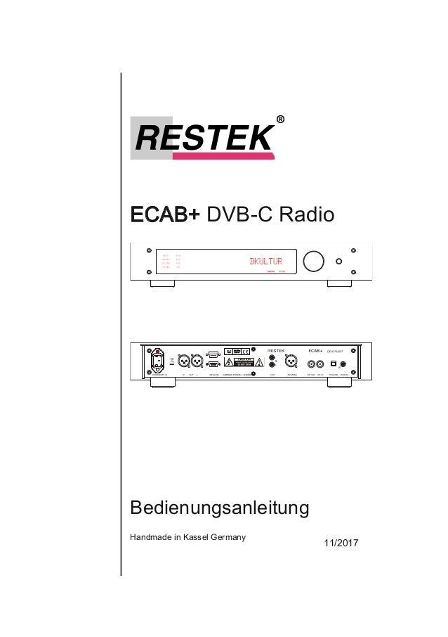 ECAB+DVBCRadio Bedienungsanleitung HandmadeinKasselGermany 11/2017