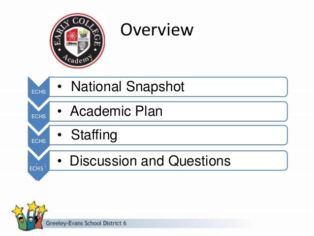 Overview ECHS • National Snapshot ECHS • Academic Plan ECHS • Staffing ECHS • Discussion and QuestionsECHS