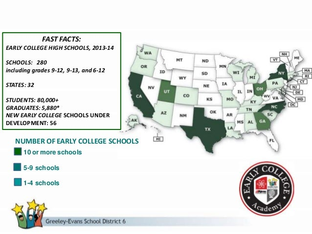 FAST FACTS: EARLY COLLEGE HIGH SCHOOLS, 2013-14 SCHOOLS: 280 including grades 9-12, 9-13, and 6-12 STATES: 32 STUDENTS: 80...