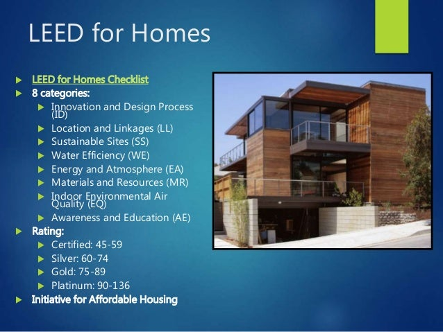 International building rating systems for Leed certified house plans