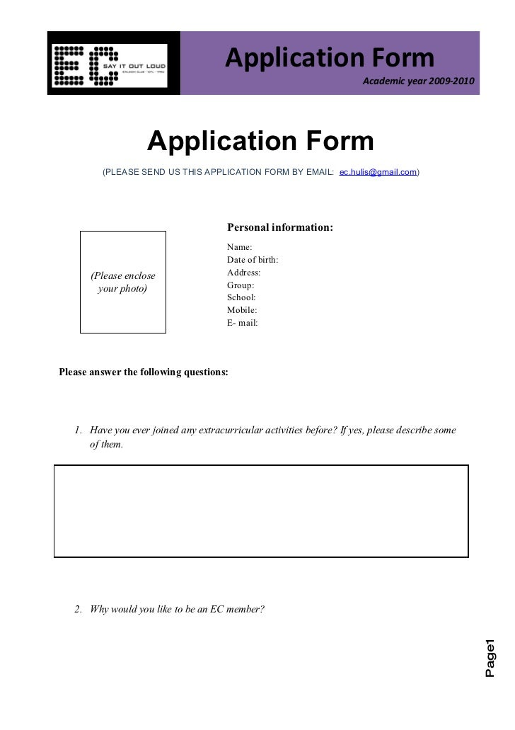 Application Form                                                                        Academic year 2009-2010           ...