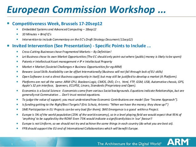 European Commission Workshop ...   Competitiveness Week, Brussels 17-20sep12           Embedded Systems and Advanced Com...