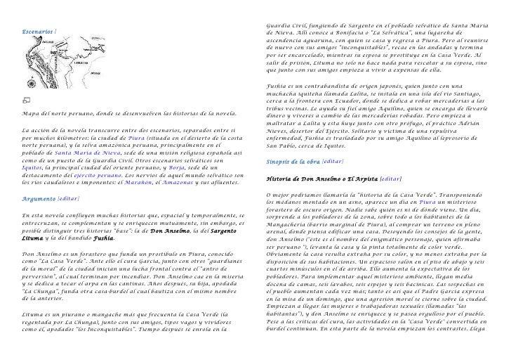 Escenarios [<br />Mapa del norte peruano, donde se desenvuelven las historias de la novela.<br />La acción de la novela tr...