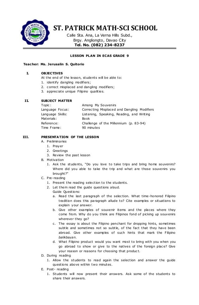 Ecas grade 7 10 – Misplaced and Dangling Modifiers Worksheet