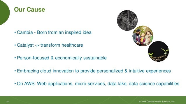 2424 Our Cause • Cambia - Born from an inspired idea • Catalyst -> transform healthcare • Person-focused & economically su...