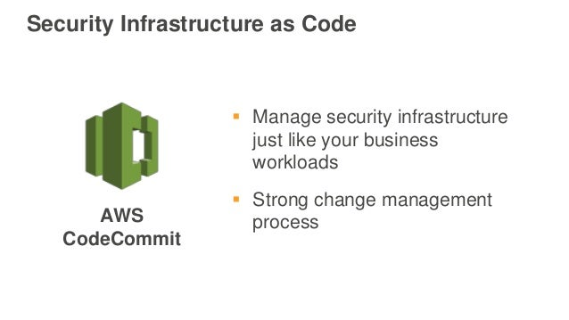 Security Infrastructure as Code  Manage security infrastructure just like your business workloads  Strong change managem...