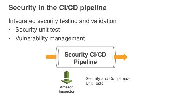Security in the CI/CD pipeline Integrated security testing and validation • Security unit test • Vulnerability management ...