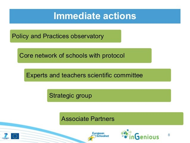 Immediate actionsPolicy and Practices observatory  Core network of schools with protocol    Experts and teachers scientifi...
