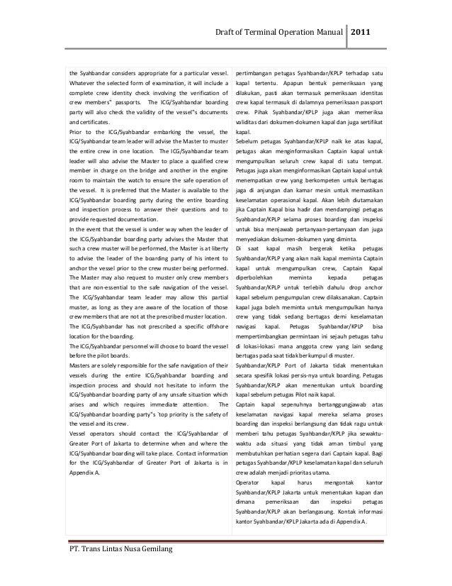 DraftofTerminalOperationManual 2011  PT.TransLintasNusaGemilang  theSyahbandarconsidersappropriateforapa...