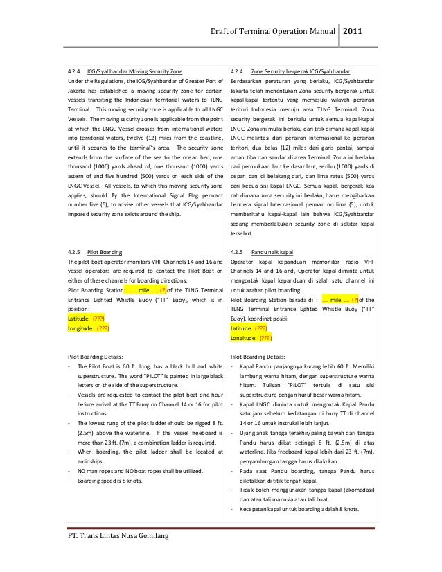 DraftofTerminalOperationManual 2011  PT.TransLintasNusaGemilang  4.2.4 ICG/SyahbandarMovingSecurityZone Un...