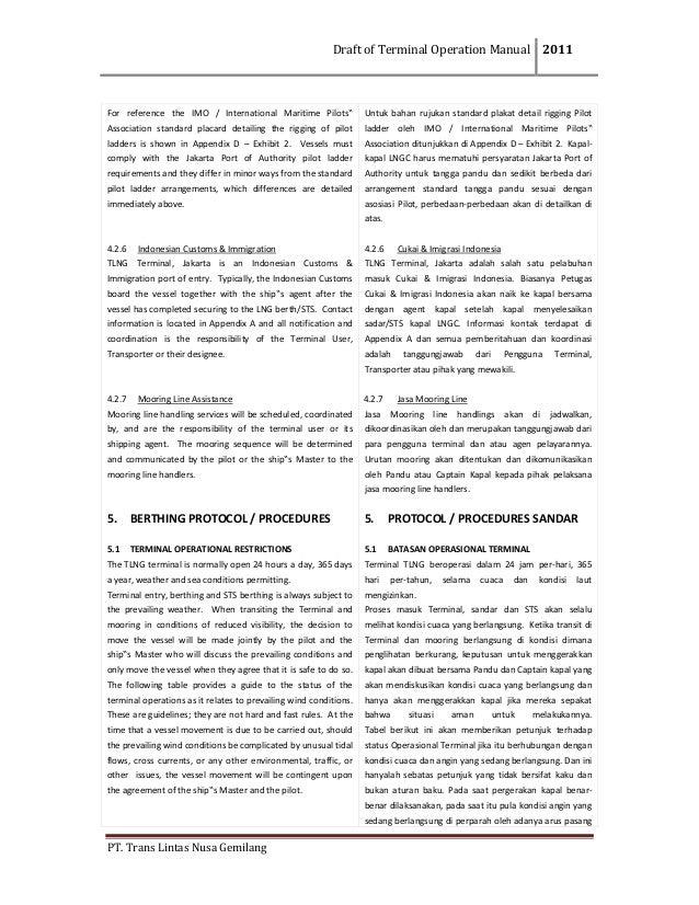 DraftofTerminalOperationManual 2011  PT.TransLintasNusaGemilang  For reference the IMO / International M...