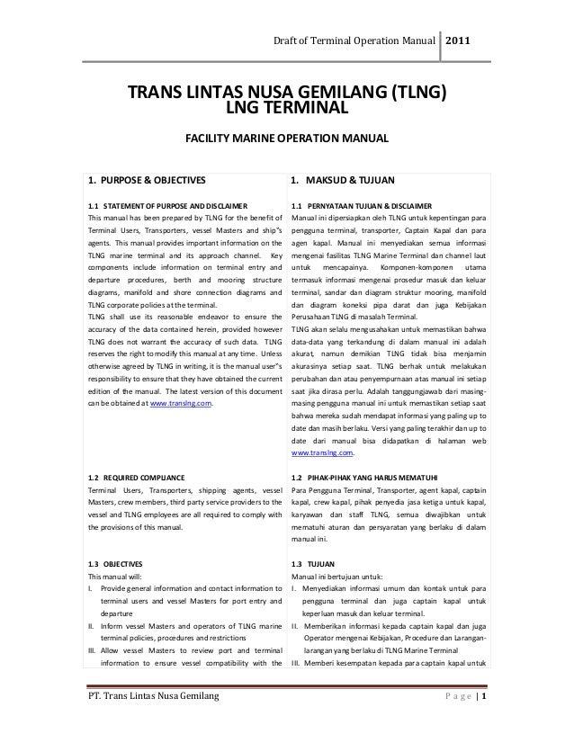 DraftofTerminalOperationManual 2011  PT.TransLintasNusaGemilang P a g e  1 TRANSLINTASNUSAGEMILANG(TLNG)...