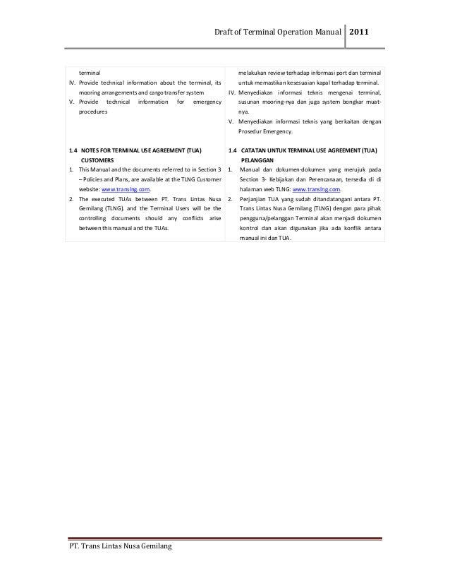DraftofTerminalOperationManual 2011  PT.TransLintasNusaGemilang  terminal IV. Provide technical information...