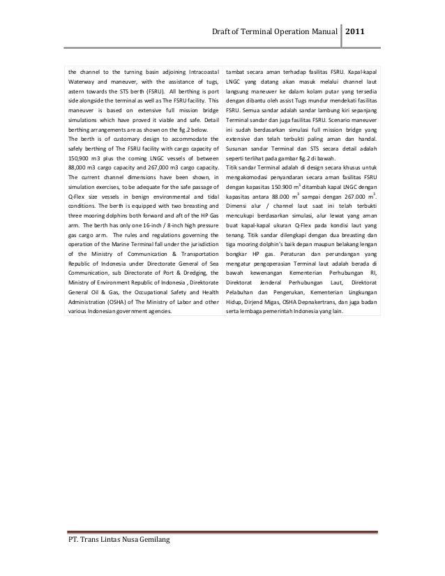 DraftofTerminalOperationManual 2011  PT.TransLintasNusaGemilang  the channel to the turning basin adjoin...
