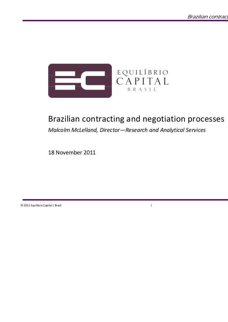 Brazilian contracting and negotiation process...