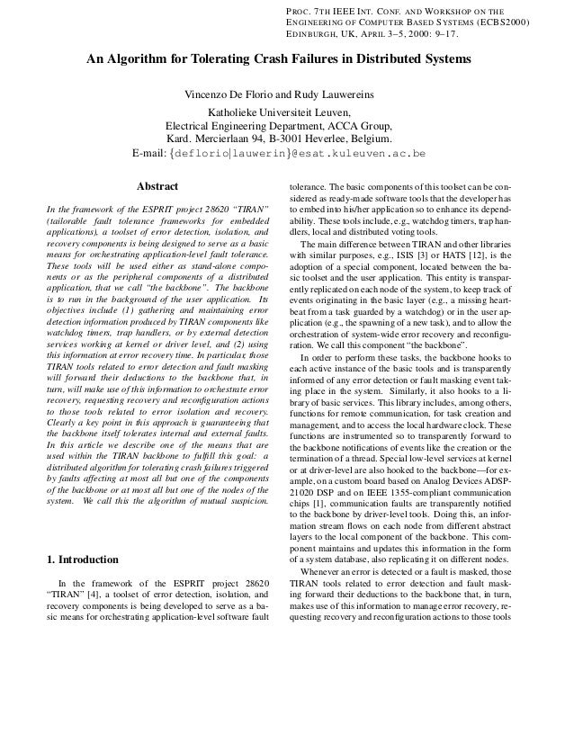 P ROC . 7 TH IEEE I NT. C ONF. AND W ORKSHOP ON THE E NGINEERING OF C OMPUTER BASED S YSTEMS (ECBS2000) E DINBURGH , UK, A...
