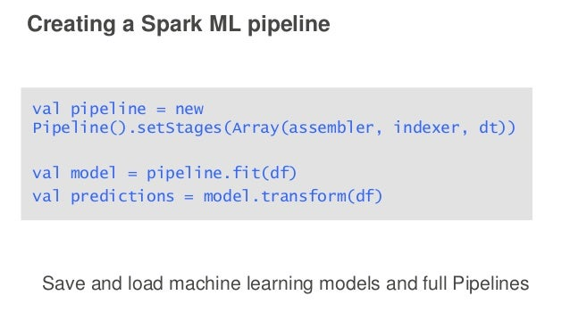 Creating a Spark ML pipeline val pipeline = new Pipeline().setStages(Array(assembler, indexer, dt)) val model = pipeline.f...