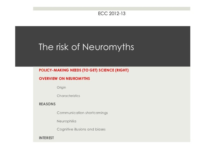 ECC 2012-13The risk of NeuromythsPOLICY-MAKING NEEDS (TO GET) SCIENCE (RIGHT)OVERVIEW ON NEUROMYTHS           Origin      ...