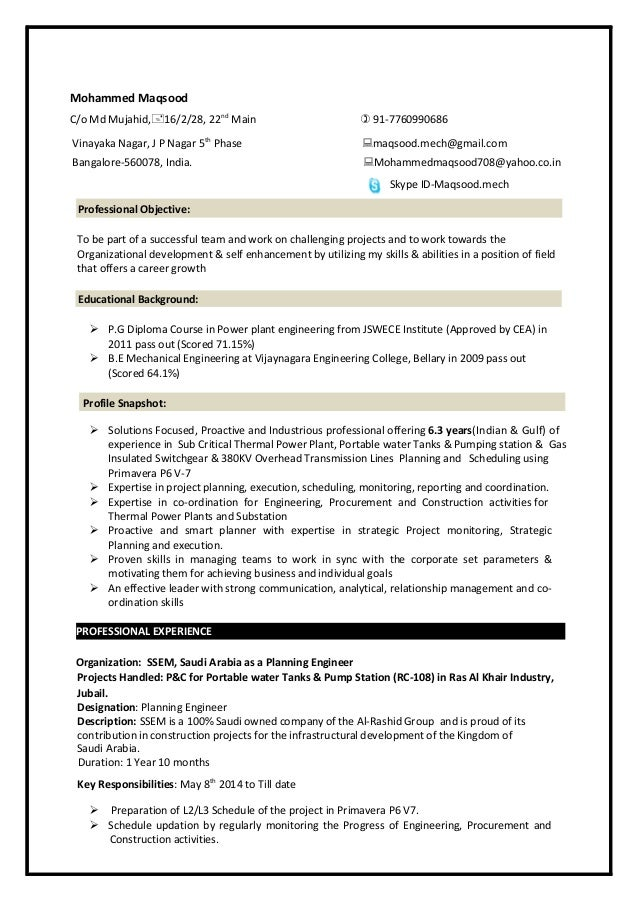 Planning Engineer Resume Mech