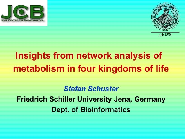 Insights from network analysis of metabolism in four kingdoms of life Stefan Schuster Friedrich Schiller University Jena, ...
