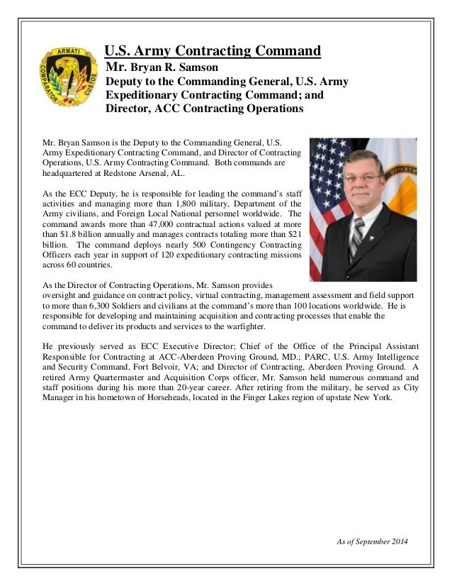 Biography bryan samson ecc deputy for Military biography template