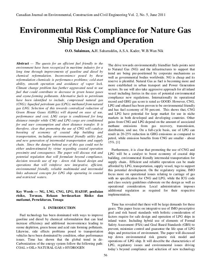 Canadian Journal on Environmental, Construction and Civil Engineering Vol. 2, No. 5, June 2011  Environmental Risk Complia...