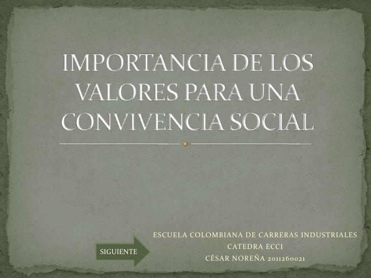 ESCUELA COLOMBIANA DE CARRERAS INDUSTRIALES                            CATEDRA ECCISIGUIENTE                       CÉSAR N...