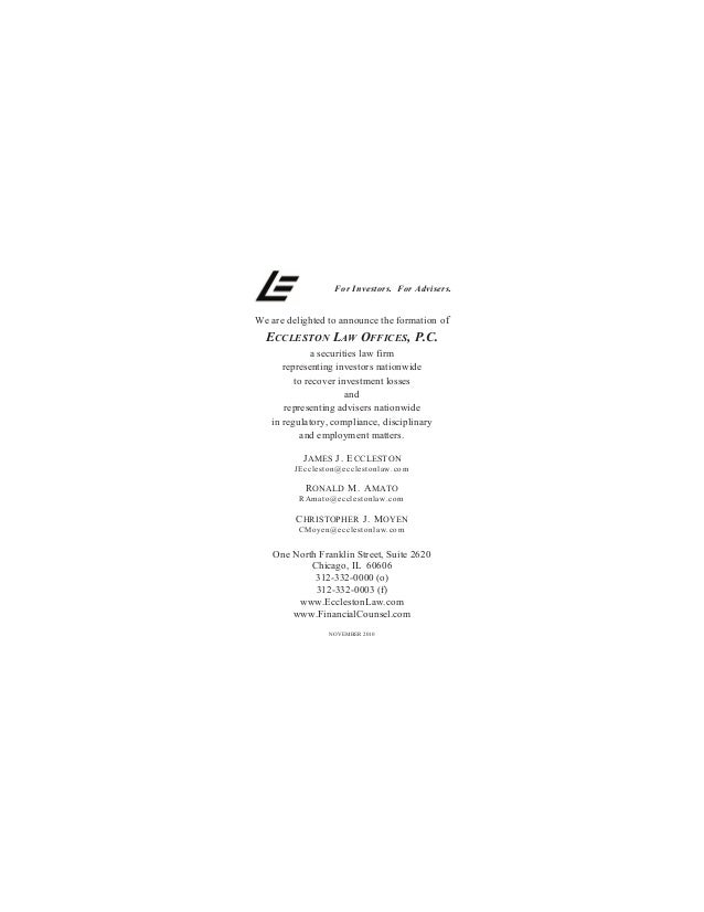 For Investors. For Advisers. We are delighted to announce the formation of ECCLESTON LAW OFFICES, P.C. a securities law fi...