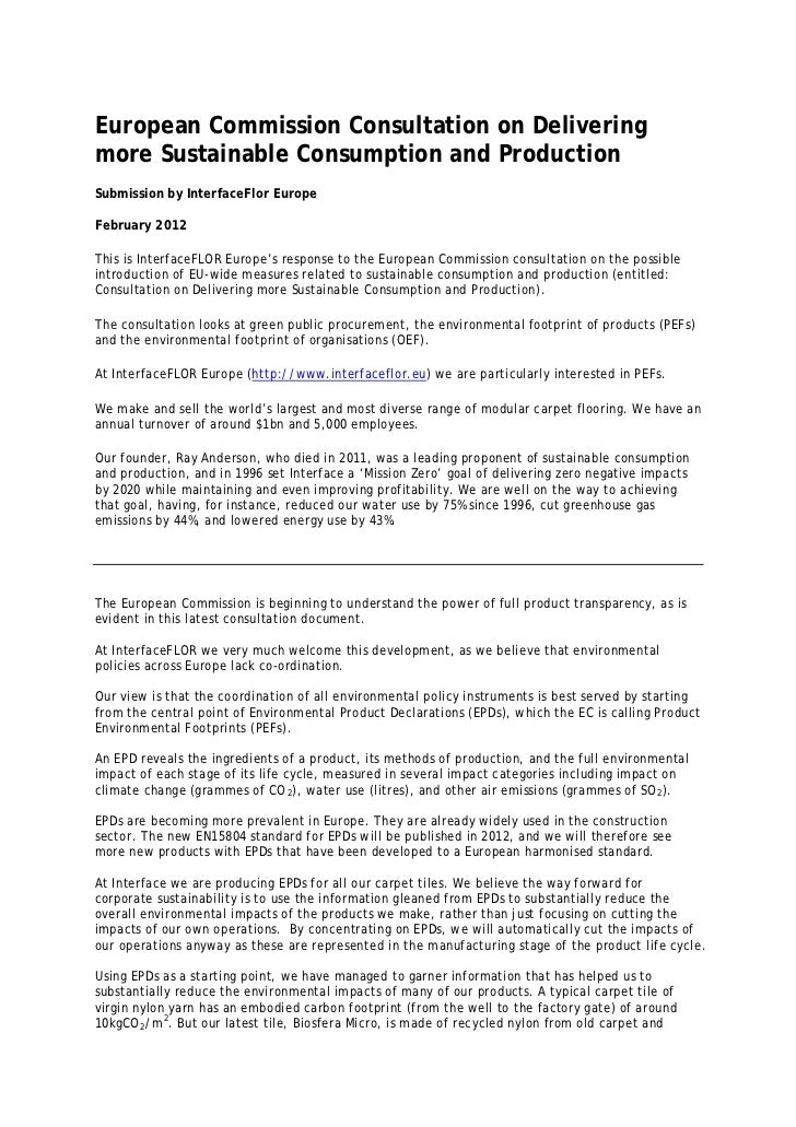 European Commission Consultation on Deliveringmore Sustainable Consumption and ProductionSubmission by InterfaceFlor Europ...