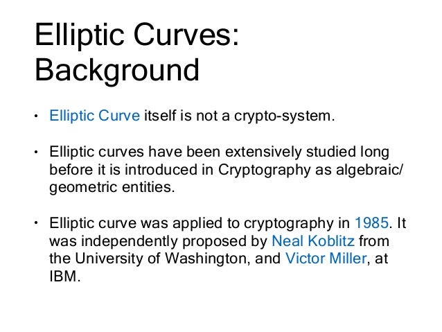 elliptic curve cryptography and its applications Elliptical curve cryptography is a public key encryption technique based on elliptic curve theory that can it is becoming widely used for mobile applications.