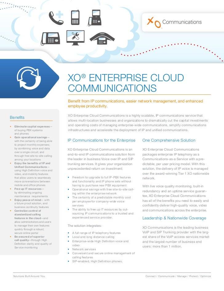 XO® ENTERPRISE CLOUD                                       COMMUNICATIONS                                       Benefit fr...