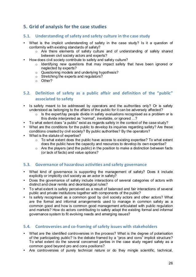 26 5. Grid  of  analysis  for  the  case  studies   5.1. Understanding  of  safety  and  safety  c...