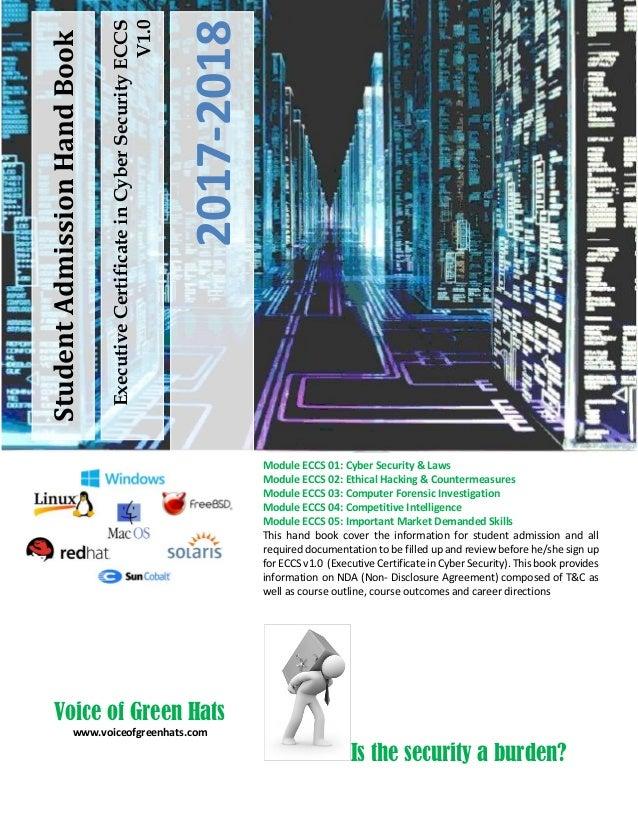 ExecutiveCertificateinCyberSecurityECCS V1.0 2017-2018 StudentAdmissionHandBook Module ECCS 01: Cyber Security & Laws Modu...