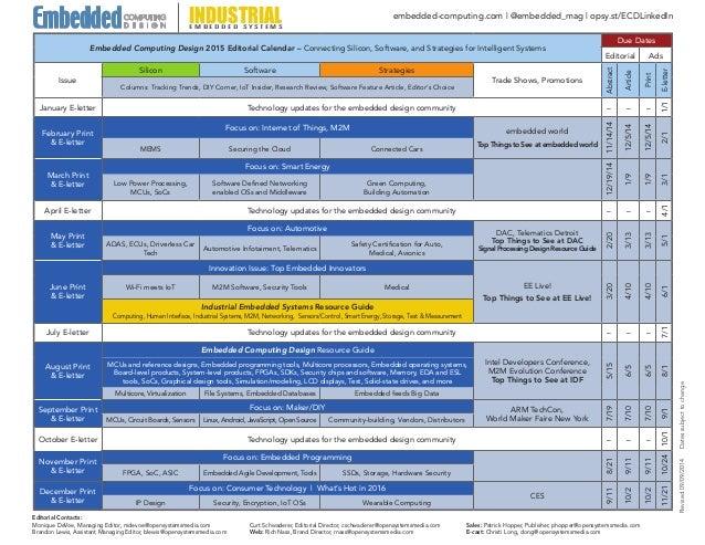 Editorial Calendar Design : Embedded computing design editorial calendar