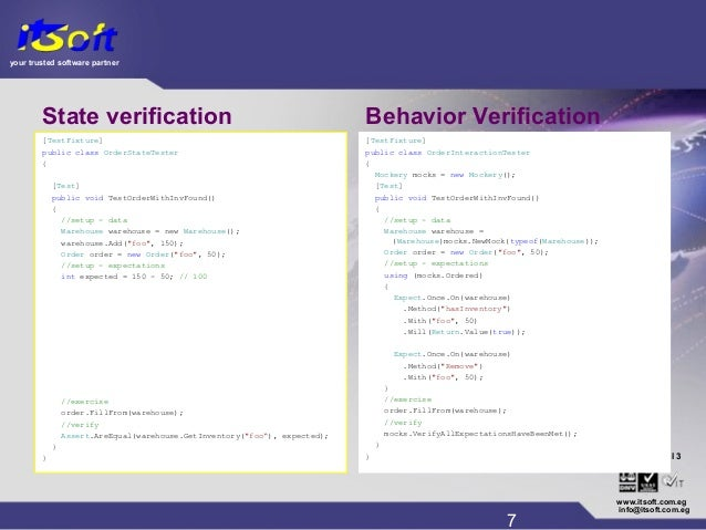 your trusted software partner CMM www.itsoft.com.eg 7 info@itsoft.com.eg Level 3® State verification [TestFixture] public ...