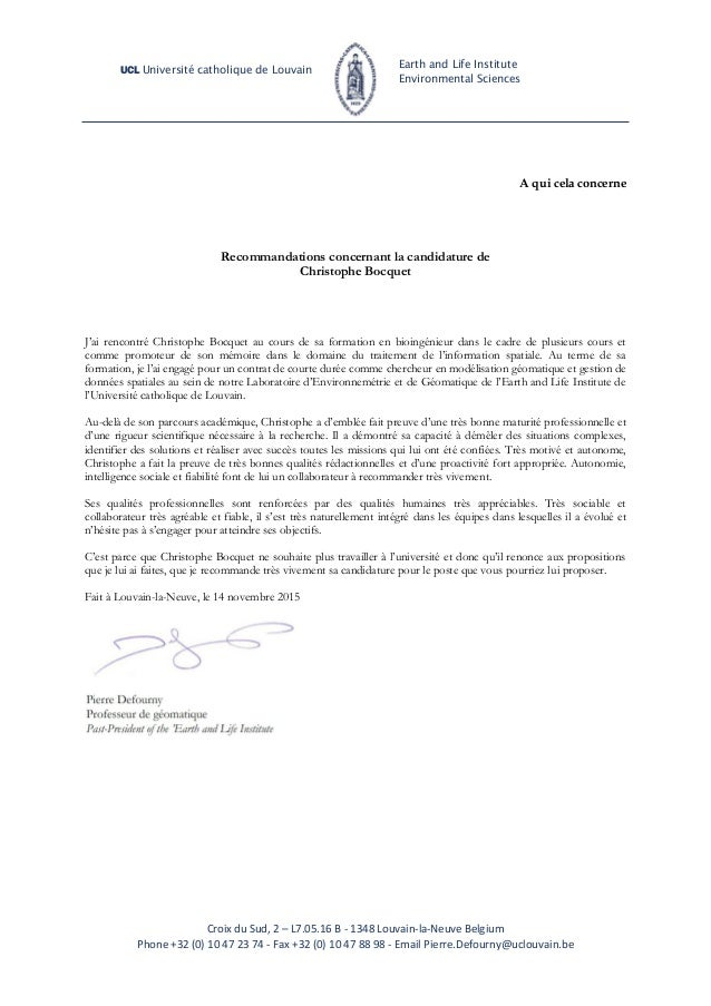 Lettre Recommandation Pierre Defourny