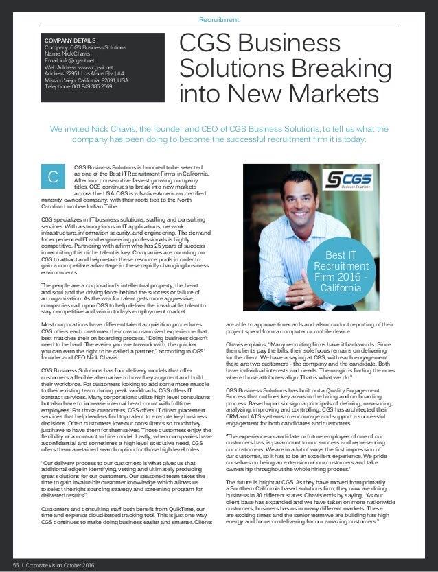 CGS Breaking New Markets