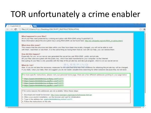 TOR unfortunately a crime enabler