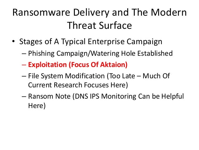 Ransomware Delivery and The Modern Threat Surface • Stages of A Typical Enterprise Campaign – Phishing Campaign/Watering H...