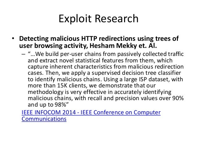"""Exploit Research • Detecting malicious HTTP redirections using trees of user browsing activity, Hesham Mekky et. Al. – """"…W..."""