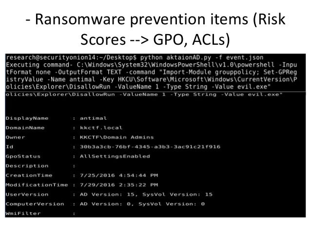 - Ransomware prevention items (Risk Scores --> GPO, ACLs)