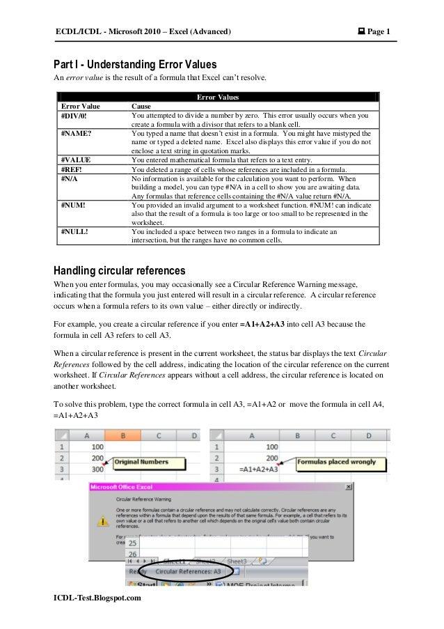 ECDL/ICDL - Microsoft 2010 – Excel (Advanced)  Page 1 ICDL-Test.Blogspot.com Part I - Understanding Error Values An error...