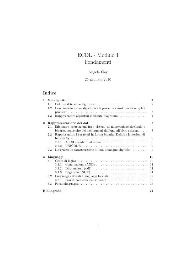 ECDL - Modulo 1                           Fondamenti                                  Angela Gay                          ...