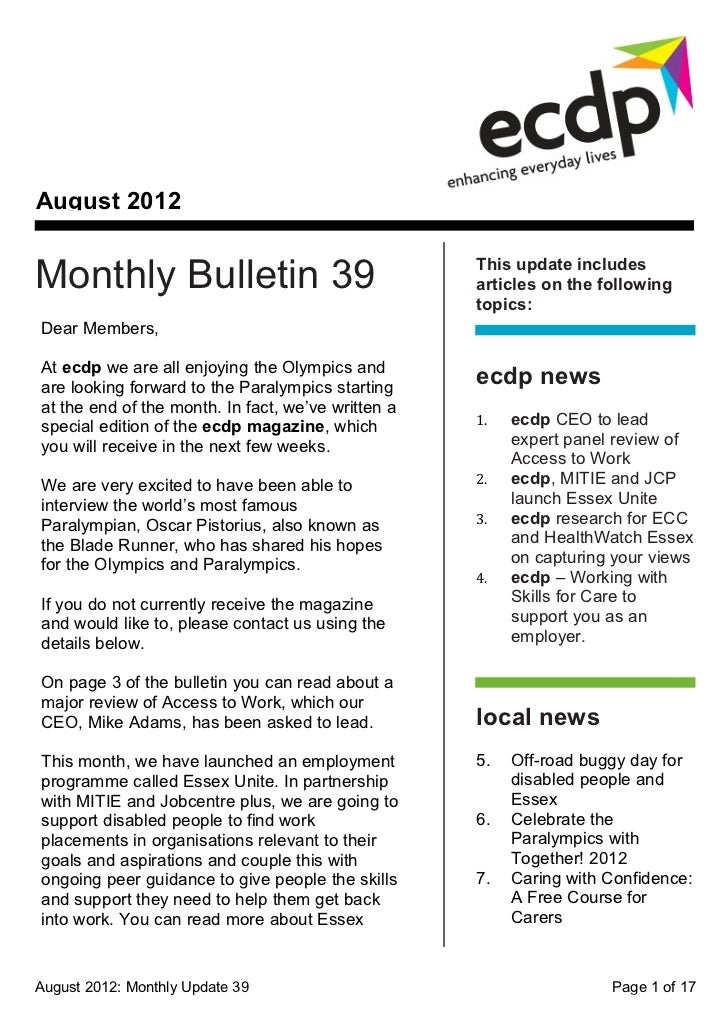 August 2012Monthly Bulletin 39                                 This update includes                                       ...