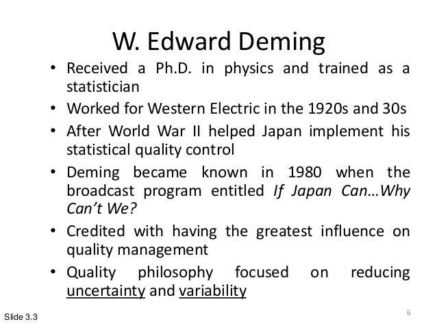 w edwards deming a total quality Read this essay on w edwards deming- a total quality pioneer come browse our large digital warehouse of free sample essays get the knowledge you need in order to pass your classes and more only at termpaperwarehousecom.