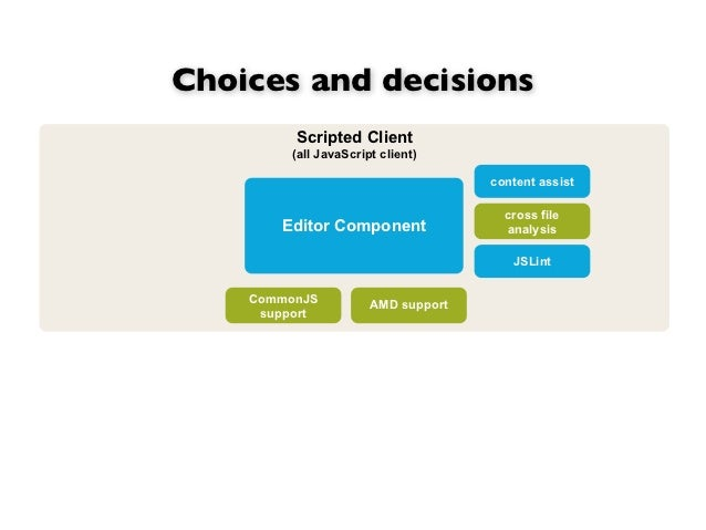 Choices and decisions         Scripted Client         (all JavaScript client)                                     content ...