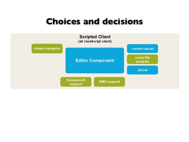 Choices and decisions                        Scripted Client                        (all JavaScript client)simple navigato...