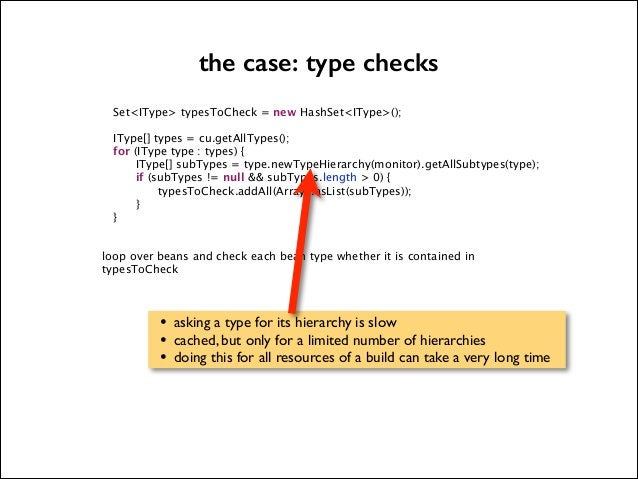the case: type checks   Set<IType> typesToCheck = new HashSet<IType>();          IType[] types = cu.getAllTypes(); for (IT...