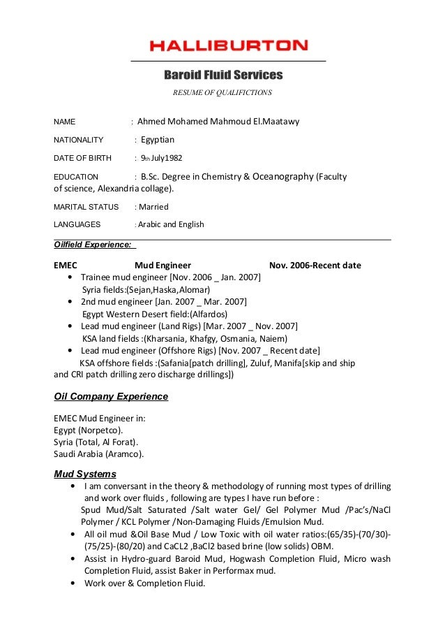 cv halliburton format resume of qualifictions name ahmed mohamed mahmoud elmaatawy nationality egyptian date of - Halliburton Field Engineer Sample Resume