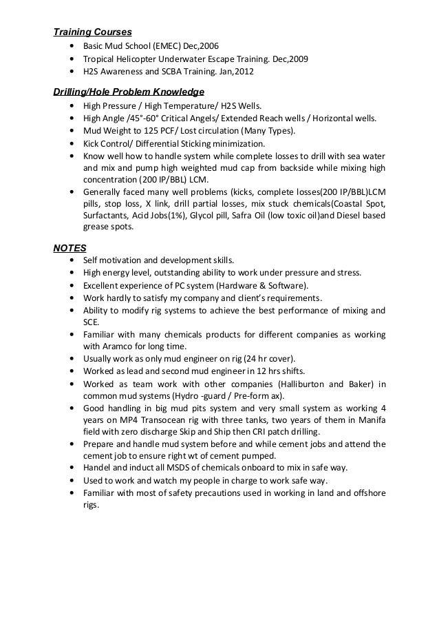 2 - Halliburton Field Engineer Sample Resume